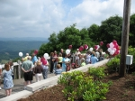 Gathering for the Sunday memorial service at the Overlook